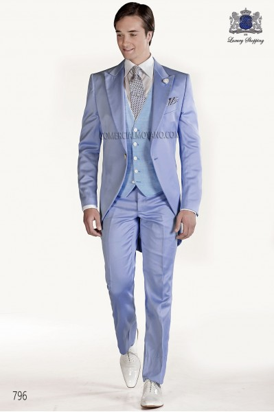 Sky blue satin groom fashion frock coat