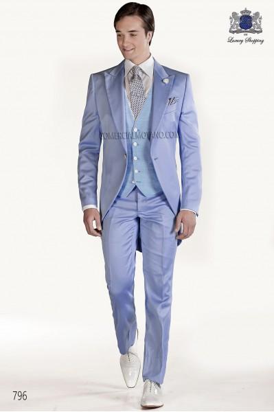 Sky blue satin groom fashion frock coat