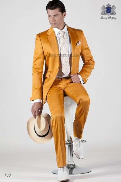 Gold-tone cotton satin men suit