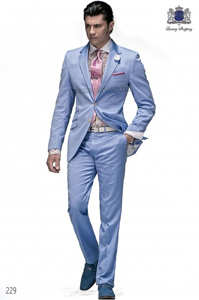 Sky blue cotton fashion men suit