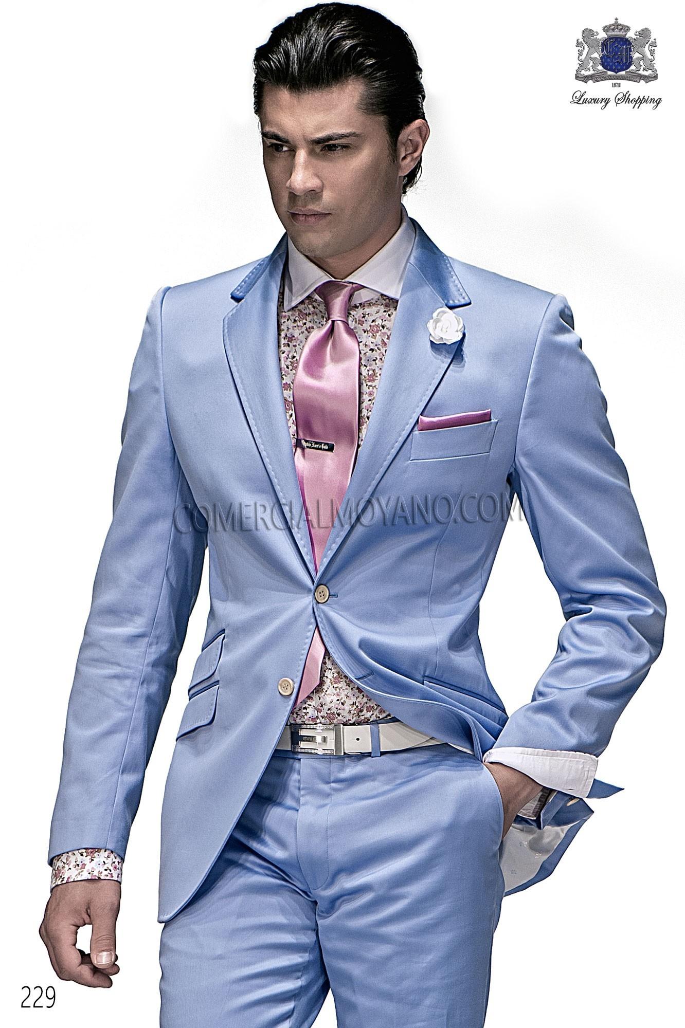 Traje Hipster de novio celeste modelo: 229 Ottavio Nuccio Gala colección Hipster