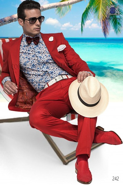 Red italian fashion suit