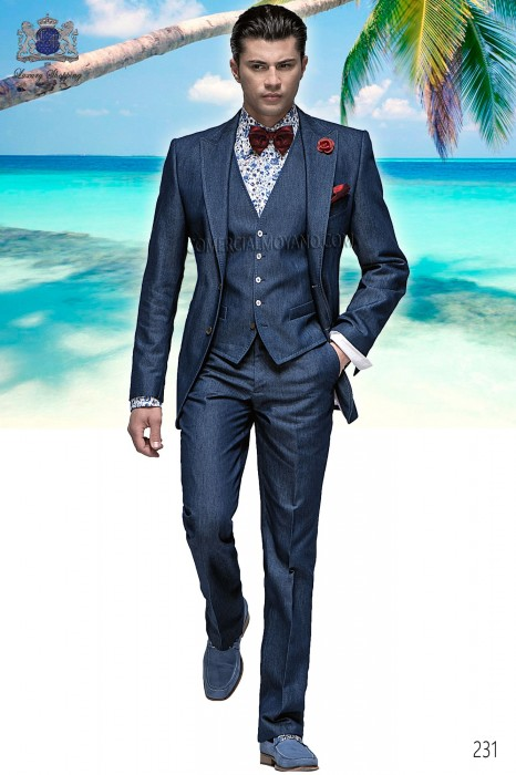 Blue denim italian bespoke fashion suit 3 pieces