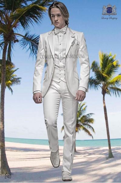 Traje de moda blanco algodón piqué 240 Ottavio Nuccio Gala