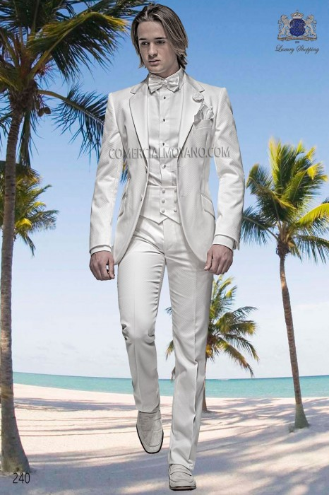 White cotton pique fashion men suit