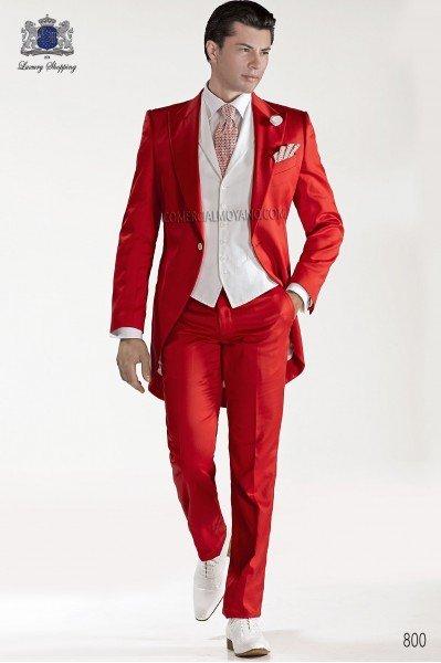 Red satin cotton fashion men frock coat