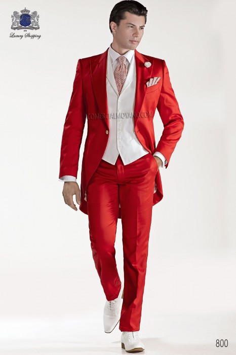 Italian bespoke red cotton satin frock coat 800 Ottavio Nuccio Gala.