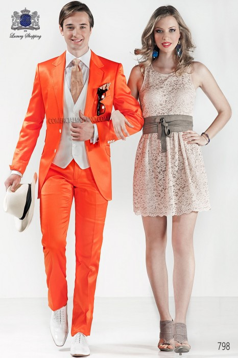 Orange satin cotton fashion men suit