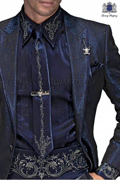 Blue lurex shirt and accesories with silver embroidery