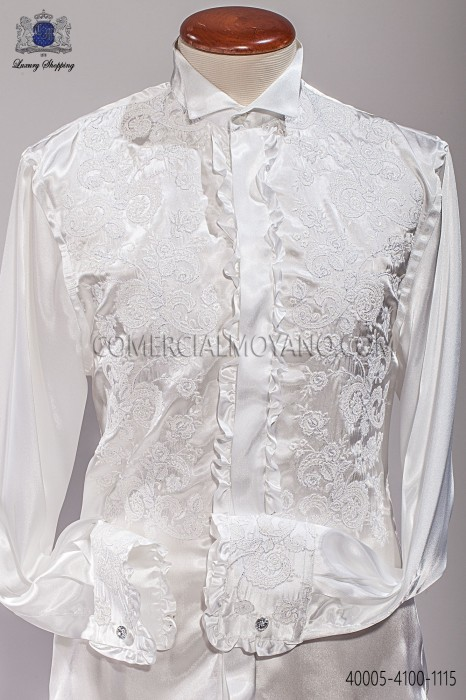 Natural white-tone shirt with floral embroidery