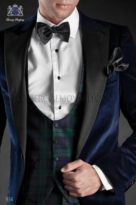 Navy blue silk bow tie with handkerchief 56572-2870-5000 Ottavio Nuccio Gala.