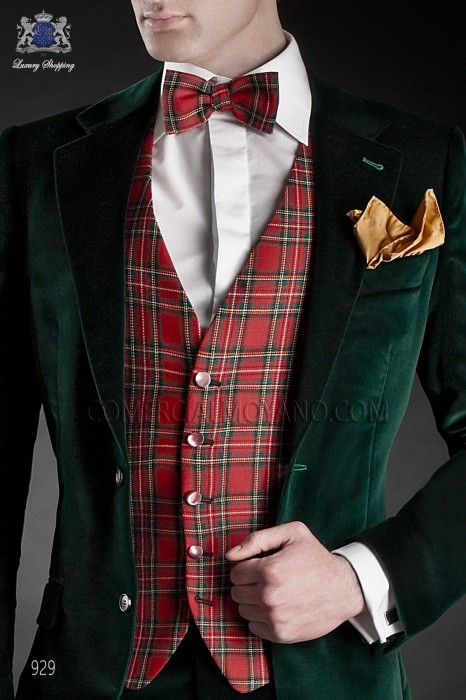 Red tartan plaid bow tie 10272-6170-3000 Ottavio Nuccio Gala.