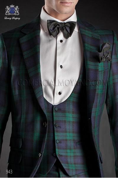 Blue green tartan silk bow tie 10252-2870-5000 Ottavio Nuccio Gala.