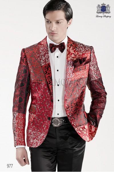 Red jacquared silk bow tie and handkerchief set 56589-6100-8431 Ottavio Nuccio Gala.