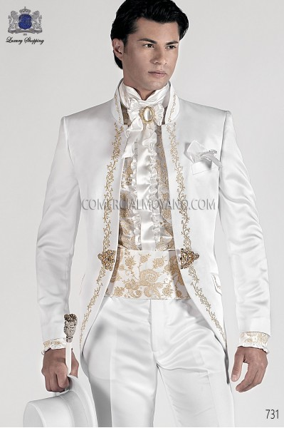 White satin cummebund with gold-tone embroidery 10254-4100-1120 Ottavio Nuccio Gala.