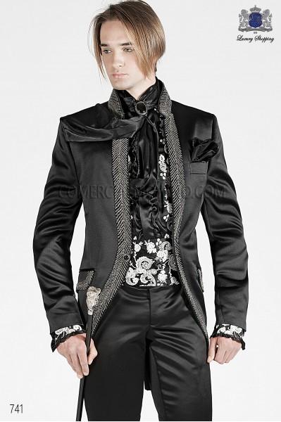 Black satin cummebund with pearl floral embroidery 10254-4100-8015 Ottavio Nuccio Gala.