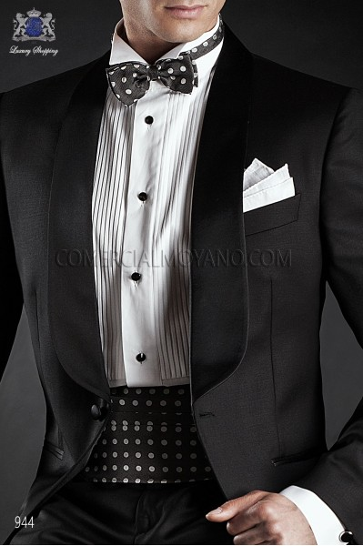 Gray silk cummerbund and bow tie 57511-9000-9000 Ottavio Nuccio Gala.