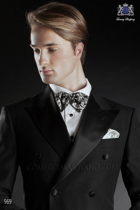 Black-silver jacquard silk bow tie 10272-9000-9000 Ottavio Nuccio Gala.