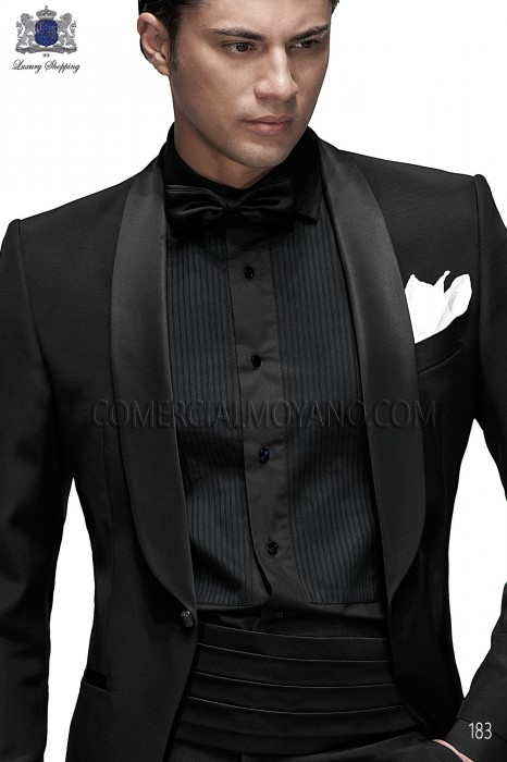Black cummerbund and bow tie set 57521-5201-8000 Ottavio Nuccio Gala.