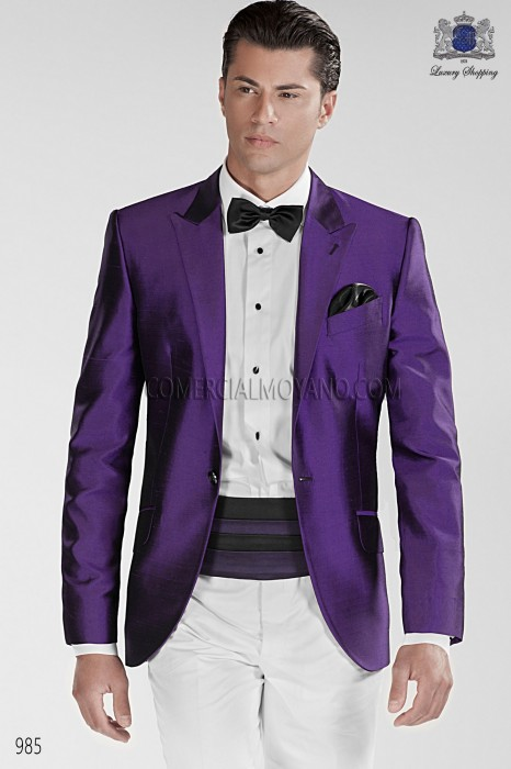 Bicolor black and purple cummerbund 10274-5201-8033 Ottavio Nuccio Gala.