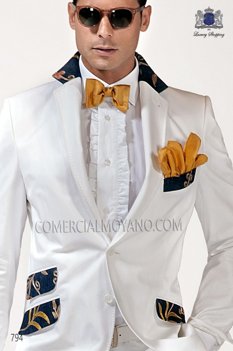 Gold-tone silk bow tie with handkerchief 56572-2719-2200 Ottavio Nuccio Gala.