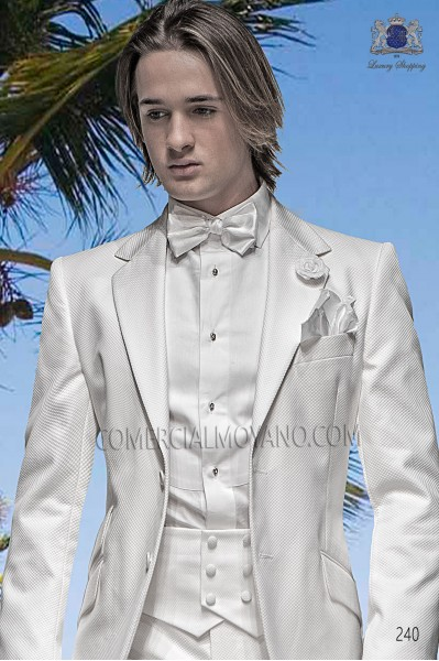 White cummerbund and bow tie set 57531-5174-1000 Ottavio Nuccio Gala.