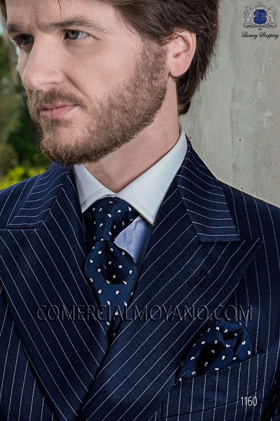 Navy blue tie and handkerchief 56502-2710-5100 Ottavio Nuccio Gala.