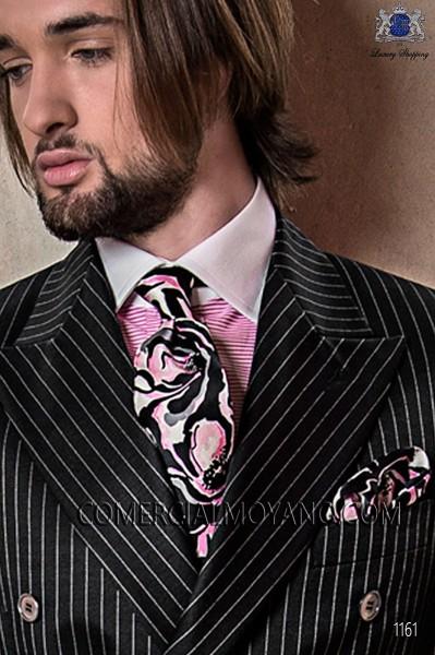 Black & pink stamped silk tie & handkerchief 56502-2861-8600 Ottavio Nuccio Gala.
