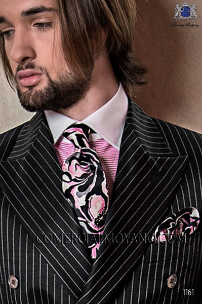 Corbata con pañuelo de seda estampada rosa y negro 56502-2861-8600 Ottavio Nuccio Gala.