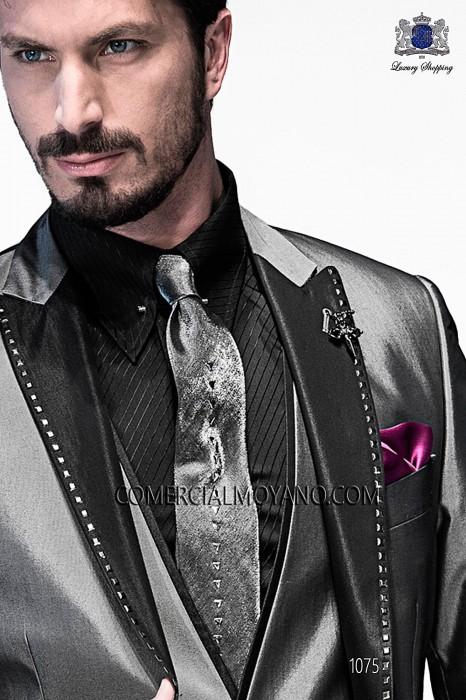 Gray lurex tie and handkerchief 56591-2645-7037 Ottavio Nuccio Gala.
