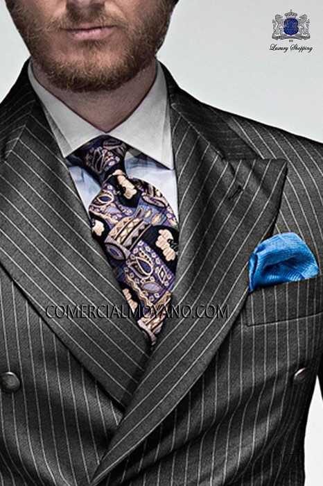 Blue tie with design 10103-9000-5199 Ottavio Nuccio Gala.