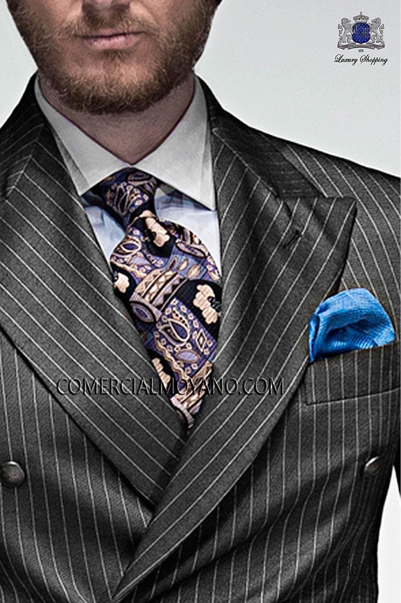 Blaue Krawatte aus reiner Seide Jacquard-Stoff, Ottavio