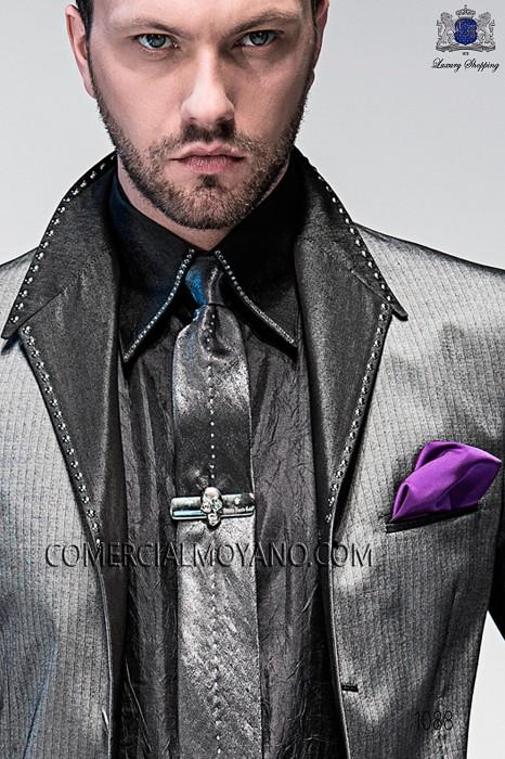 Gray lurex tie and handkerchief 56160-2645-7070 Ottavio Nuccio Gala.