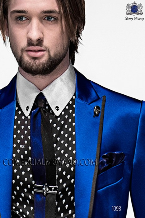 Black and blue lurex tie and handkerchief 56521-2645-8053 Ottavio Nuccio Gala.