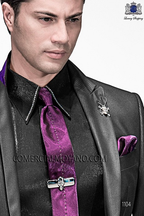 Purple lurex tie and handkerchief 56560-2645-3371 Ottavio Nuccio Gala.