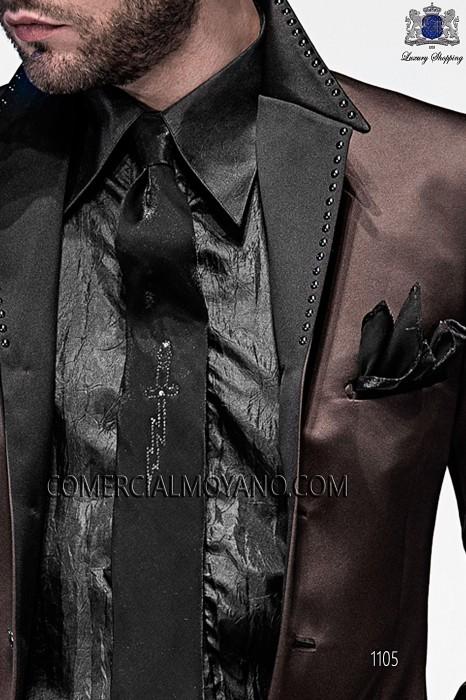Black lurex tie and handkerchief 56594-2645-8070 Ottavio Nuccio Gala.