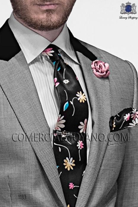 Black floral stamped silk tie & handkerchief 56502-2861-8100 Ottavio Nuccio Gala.