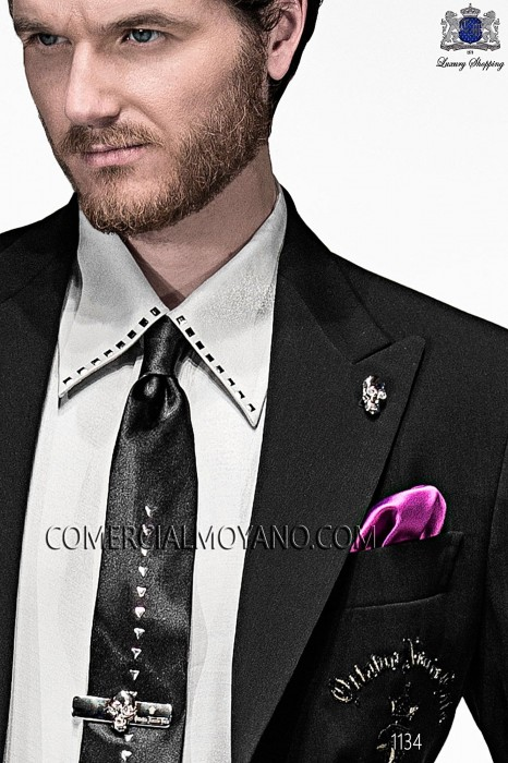 Black satin tie and handkerchief 56591-1328-8034 Ottavio Nuccio Gala.