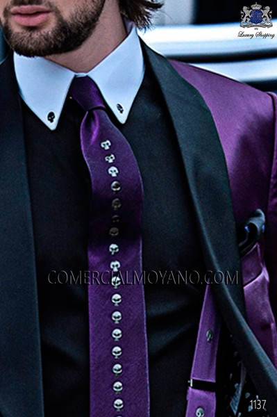 Purple skulls lurex tie and handkerchief 56198-2645-3380 Ottavio Nuccio Gala.