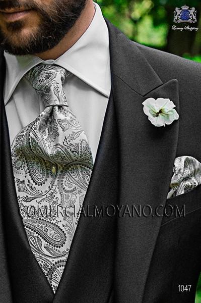Gray cashmere tie and handkerchief 56579-2901-7400 Ottavio Nuccio Gala.