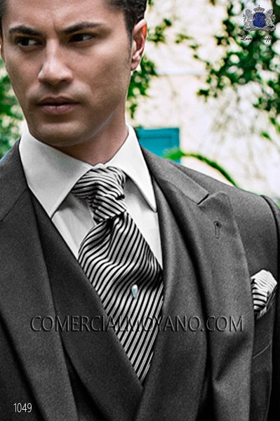 Black striped ascot tie and handkerchief 56579-2843-8000 Ottavio Nuccio Gala.