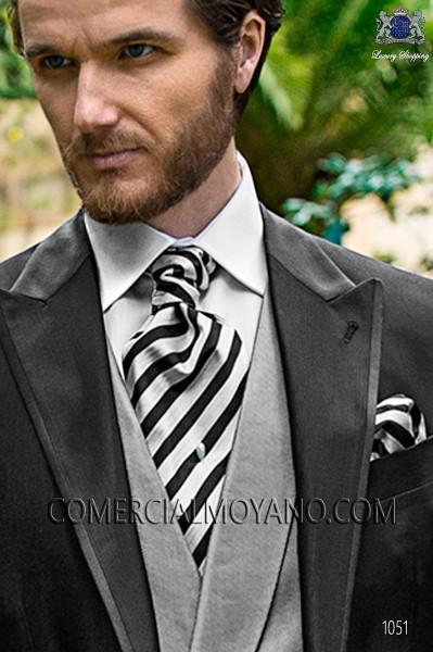 Black and silver striped ascot tie and handkerchief 56579-2845-8000 Ottavio Nuccio Gala.