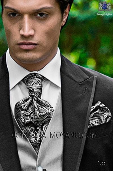Black cashmere tie and handkerchief 56579-2901-8100 Ottavio Nuccio Gala.