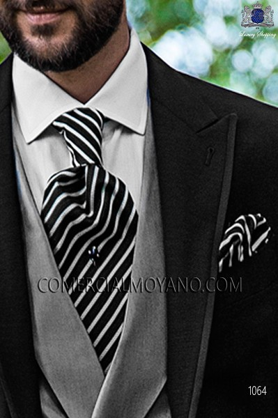 Black and silver silk ascot tie and handkerchief 56579-2845-8100 Ottavio Nuccio Gala.