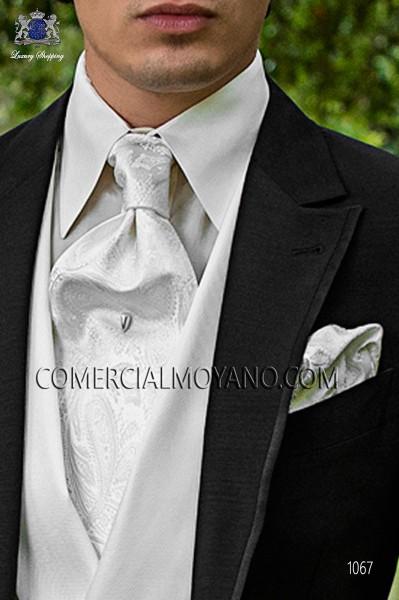 White cashmere tie and handkerchief 56579-2901-1000 Ottavio Nuccio Gala.