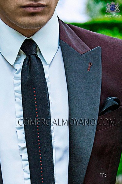 Black lurex tie and handkerchief 56560-2645-8030 Ottavio Nuccio Gala.
