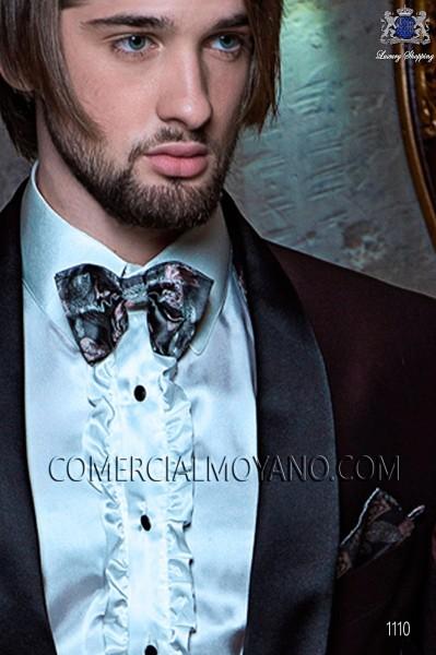 Black silk handkerchief with flowers 15018-9000-7094 Ottavio Nuccio Gala.