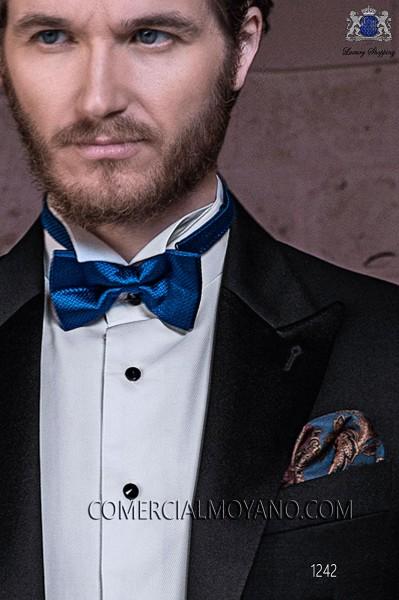 Blue pure silk handkerchief 15018-9000-5196 Ottavio Nuccio Gala.