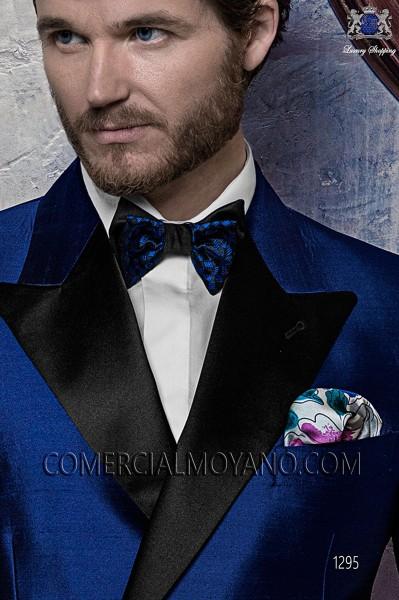 Blue patterned silk designer handkerchief 15019-2861-5500 Ottavio Nuccio Gala.