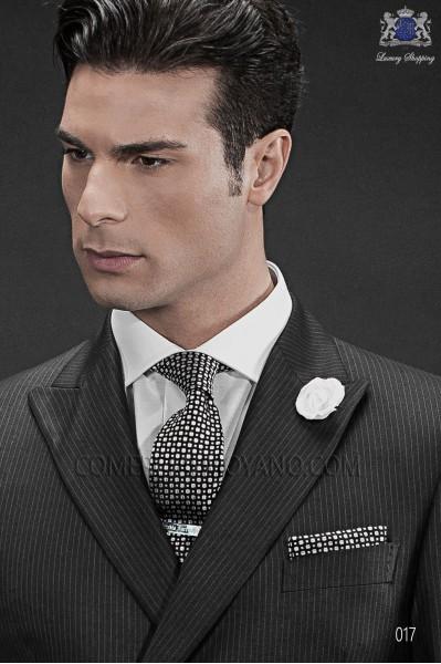 Black silk tie & handkerchief 56502-2840-8000 Ottavio Nuccio Gala.
